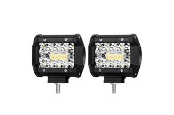 "LIGHTFOX 2x 4""inch CREE LED Light Bar SPOT FLOOD 3Row Work Fog Lamp Offroad 4x4"