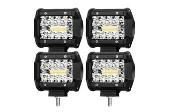 LIGHTFOX 4x 4inch CREE LED Light Bar Spot Flood 3Row Work Fog Lamps Reverse Offroad 4WD
