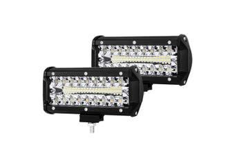 "LIGHTFOX 2x 7inch CREE LED Light Bar Spot Flood Combo Work Driving Lights OffRoad 4WD 6"""