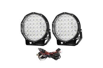 LIGHTFOX 9inch LED Driving Lights Pair LED Round Spotlight Offroad Wiring Loom