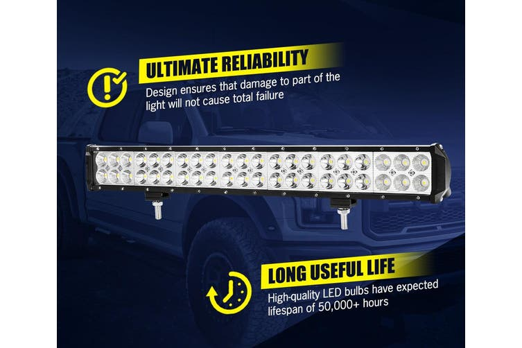 LIGHTFOX 20Inch Cree LED Light Bar Spot Flood Work Driving Light + 23'' Number Plate Frame