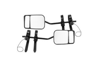 SAN HIMA 2x Towing Mirrors Pair Clip on Multi Fit Clamp On Towing Caravan 4X4 Trailer