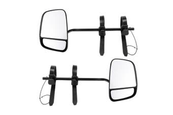 SAN HIMA Pair Towing Mirrors Multi Fit Clamp on Towing Caravan 4X4 Trailer Heavy Duty