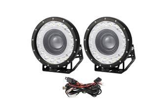 LIGHTFOX 9inch CREE LED Driving Lights Pair Round Black Spotlights 4x4 w/ Wiring