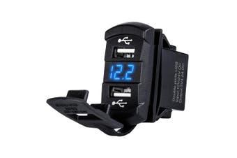 LIGHTFOX Dual Blue USB Car Charger 12-24V Socket For ARB Roker Voltage Voltmeter