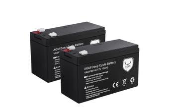 ATEM POWER 2X12AH AMP Hour Battery 12V AGM SLA Deep Cycle Dual Fridge Solar Power 12 Volt