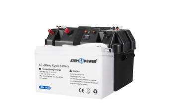 ATEM POWER 12V 135Ah AGM Deep Cycle Battery Portable Sealed Marine SLA Camping + Battery Box