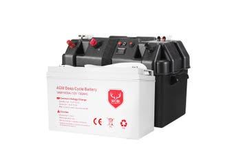 ATEM POWER AGM Deep Cycle Battery 12V 135Ah Portable Sealed Marine SLA Camping + Battery Box