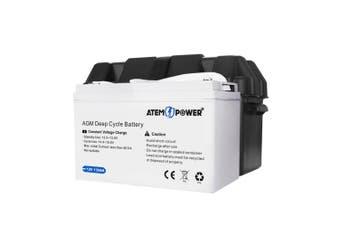 ATEM POWER 135AH AGM Battery 12V AMP Hour SLA Deep Cycle Dual Fridge with Battery Box