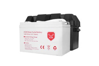 ATEM POWER 135AH AGM Deep Cycle Battery 12V AMP Hour SLA  Dual Fridge with Battery Box
