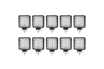 LIGHTFOX 10x CREE Square LED Work Light Bar Flood Fog Lamp Reverse Offroad 4x4