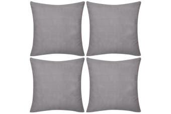 4 Grey Cushion Covers Cotton 80 x 80 cm