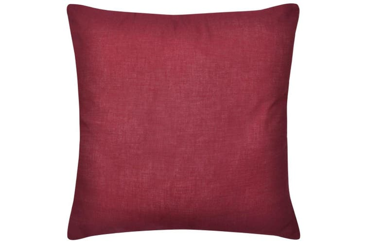 4 Burgundy Cushion Covers Cotton 50 x 50 cm
