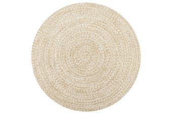 Handmade Rug Jute White and Natural 90 cm