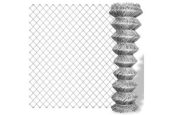 Chain Link Fence Galvanised Steel 25x0.8 m Silver