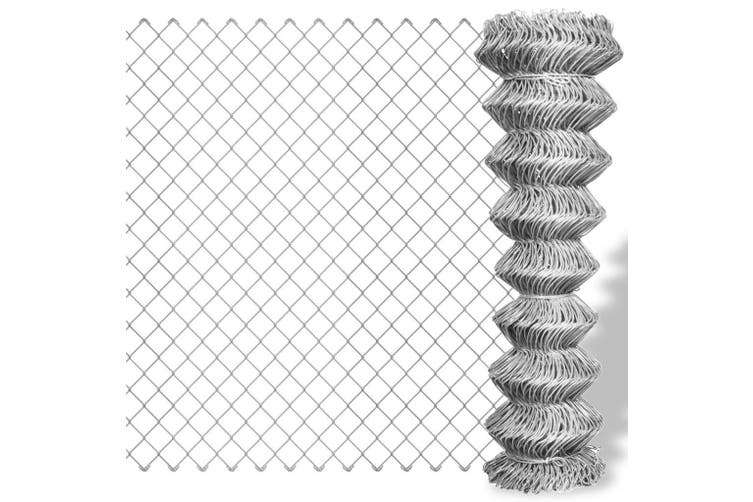 Chain Link Fence Galvanised Steel 25x1 m Silver