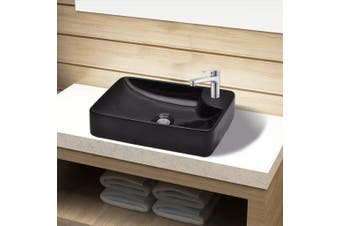 Ceramic Bathroom Sink Basin with Faucet Hole Black