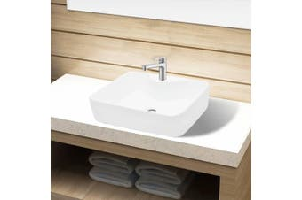Ceramic Bathroom Sink Basin with Faucet Hole White Square