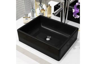 Basin Ceramic Rectangular Black 41x30x12 cm