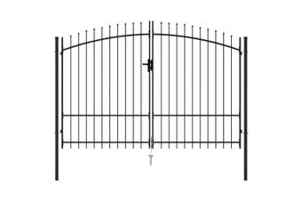 Fence Gate Double Door with Spike Top Steel 3x1.75 m Black