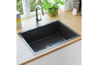 Handmade Kitchen Sink with Overflow Hole Black Stainless Steel