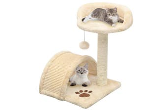 Cat Tree with Sisal Scratching Post 40 cm Beige and Brown