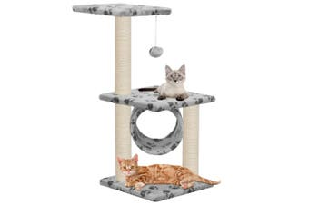 Cat Tree with Sisal Scratching Posts 65 cm Grey Paw Print