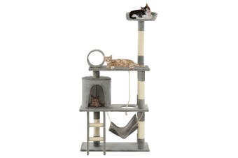 Cat Tree with Sisal Scratching Posts 140 cm Grey