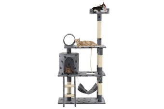 Cat Tree with Sisal Scratching Posts 140 cm Grey Paw Prints