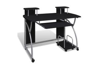 Mobile Computer Desk with Pull Out Tray Black
