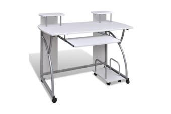 Mobile Computer Desk Pull Out Tray White Office Student Table