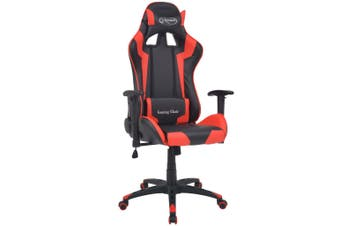 Reclining Office Racing Chair Artificial Leather Red