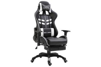 Gaming Chair with Footrest White Faux Leather