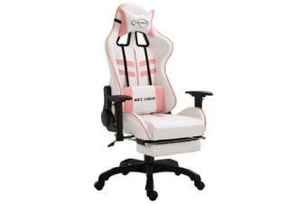 Gaming Chair with Footrest Pink Faux Leather