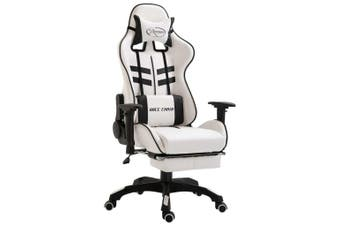 Gaming Chair with Footrest Black Faux Leather
