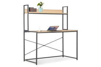 Computer Desk Black and Oak 120x60x138 cm
