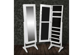 Free Standing Mirror Jewellery Cabinet Wardrobe White