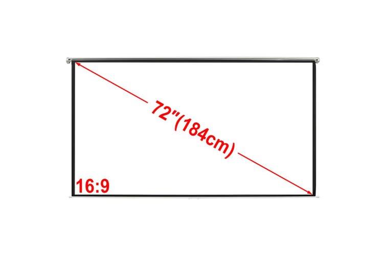 Manual Projection Screen 160 x 90 cm Matt White 16:9 Wall Ceiling Mount