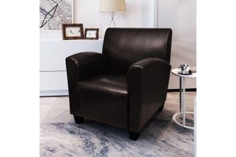 Sofa Chair Dark Brown Faux Leather