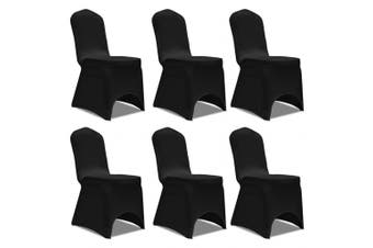 Chair Cover Stretch 6 pcs Black
