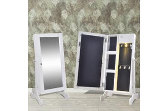 Jewelry Cabinet with LED Light and Mirror Door White