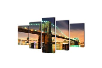 Canvas Wall Print Set Brooklyn Bridge 200 x 100 cm