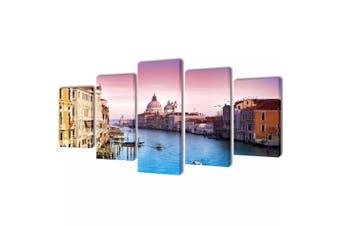 Canvas Wall Print Set Venice 100 x 50 cm