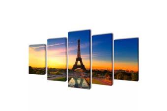 Canvas Wall Print Set Eiffel Tower 100 x 50 cm