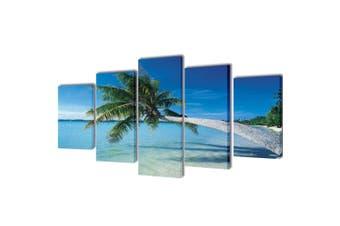 Canvas Wall Print Set Sand Beach with Palm Tree 200 x 100 cm