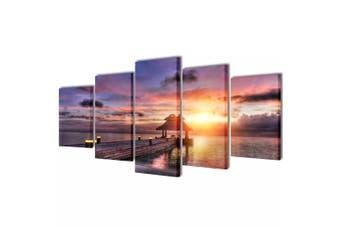 Canvas Wall Print Set Beach with Pavilion 100 x 50 cm
