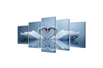 Canvas Wall Print Set Swan 100 x 50 cm