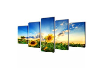Canvas Wall Print Set Sunflower 100 x 50 cm