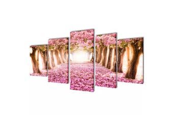 Canvas Wall Print Set Cherry Blossom 200 x 100 cm