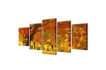 Canvas Wall Print Set Maple 100 x 50 cm